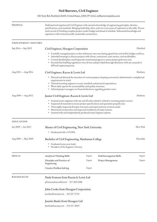 civil engineer resume examples writing tips free guide io of an experienced wizard google Resume Resume Of An Experienced Person