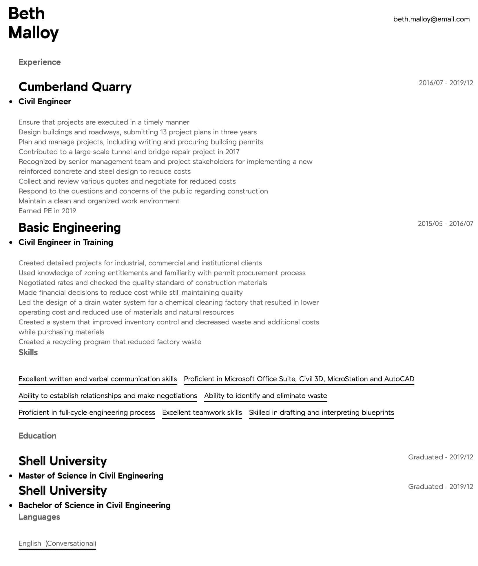 civil engineer resume samples all experience levels standard format for experienced Resume Standard Resume Format For Experienced Engineers