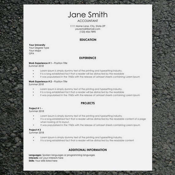 classic resume cv template word cover letter easy etsy il 570xn cwsz junk removal mock Resume Classic Resume Template