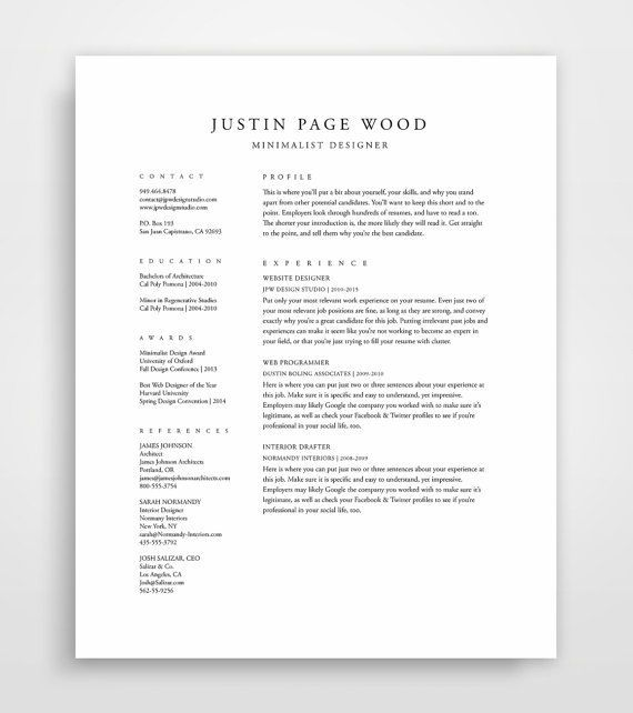classical professional resume template with two column format designed in both microsoft Resume Simple Two Column Resume Template