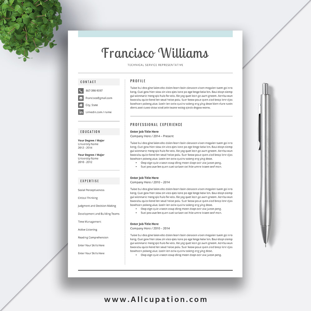clean resume template modern cv word cover letter professional instant mac pc francisco Resume Best Professional Resume Template