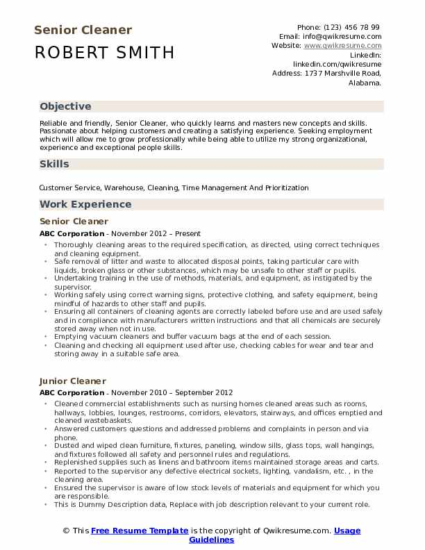 cleaner resume samples qwikresume construction pdf highlight skills on new graduate nurse Resume Construction Cleaner Resume