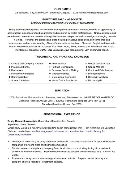 click here to this equity research associate resume template http resumetemplates101 Resume Resume Specialist Toronto