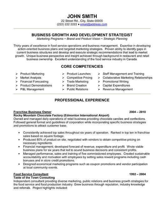 click here to this franchise business owner resume template http resumet executive Resume Business Owner Resume Template