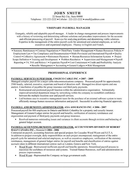 click here to this payroll manager resume template http resumetemplates101 job samples Resume Payroll Manager Resume Sample