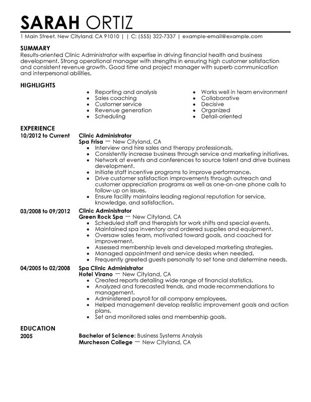 clinic administrator resume examples created by pros myperfectresume business Resume Business Administration Resume Examples