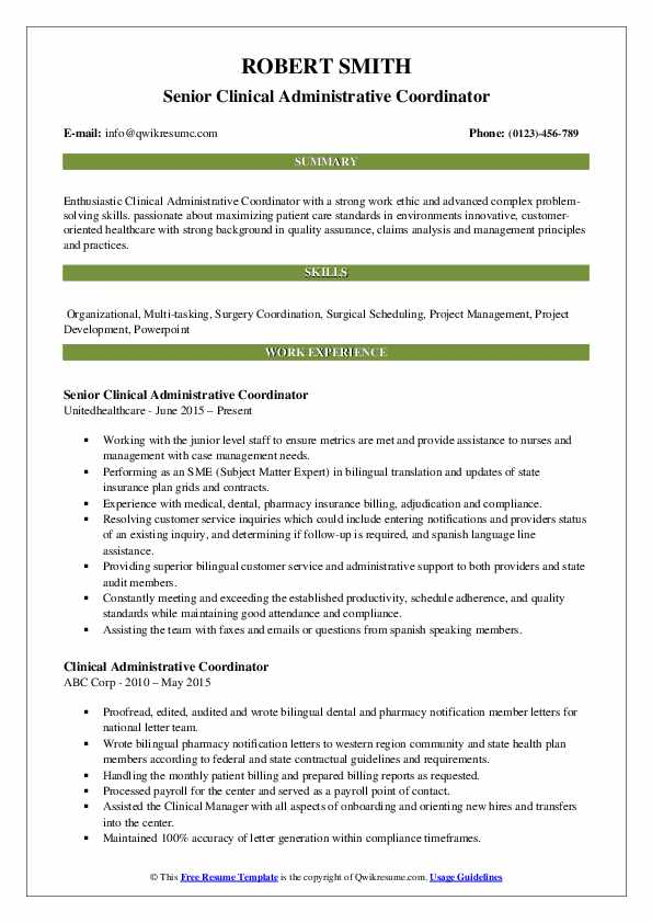 clinical administrative coordinator resume samples qwikresume pdf winway deluxe review Resume Clinical Administrative Coordinator Resume