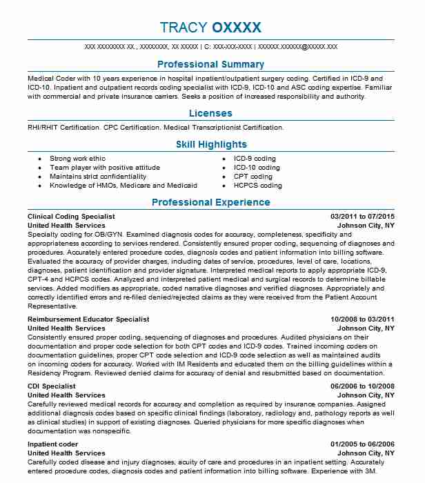 clinical coding specialist resume example livecareer for medical free sample templates Resume Resume For Medical Coding Specialist
