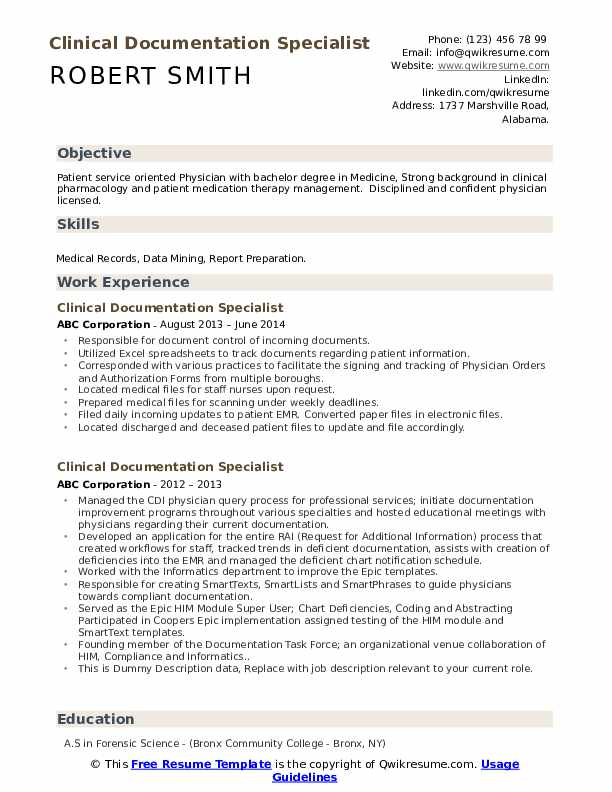 clinical documentation specialist resume samples qwikresume document sample pdf mckinsey Resume Document Specialist Resume Sample
