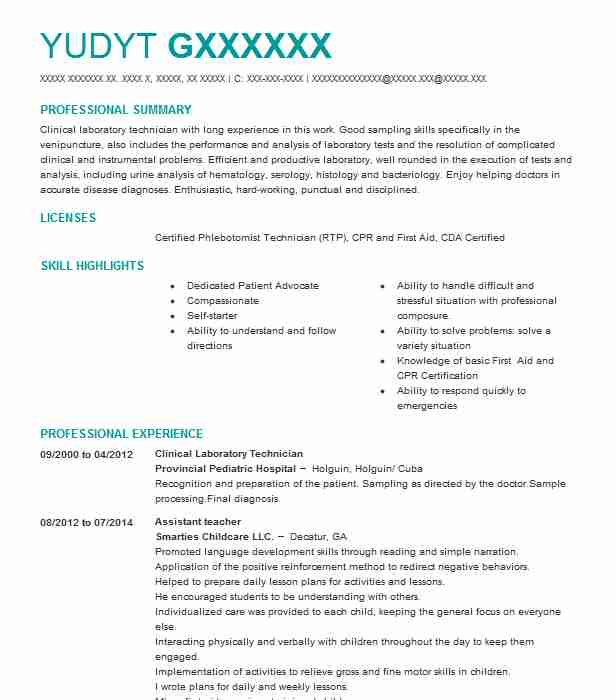 clinical laboratory technician resume example livecareer lab assistant duties heavy duty Resume Lab Assistant Duties Resume