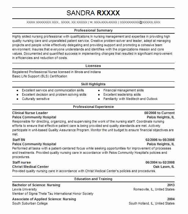 clinical nurse leader resume example resumes livecareer leadership qualities for system Resume Leadership Qualities For Resume