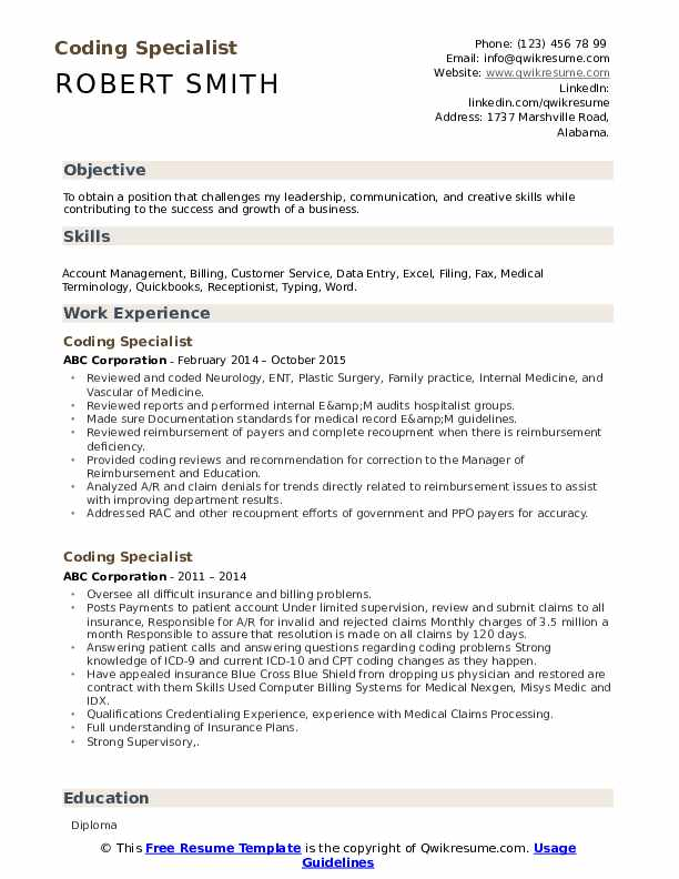 coding specialist resume samples qwikresume format for medical job pdf high school Resume Resume Format For Medical Coding Job