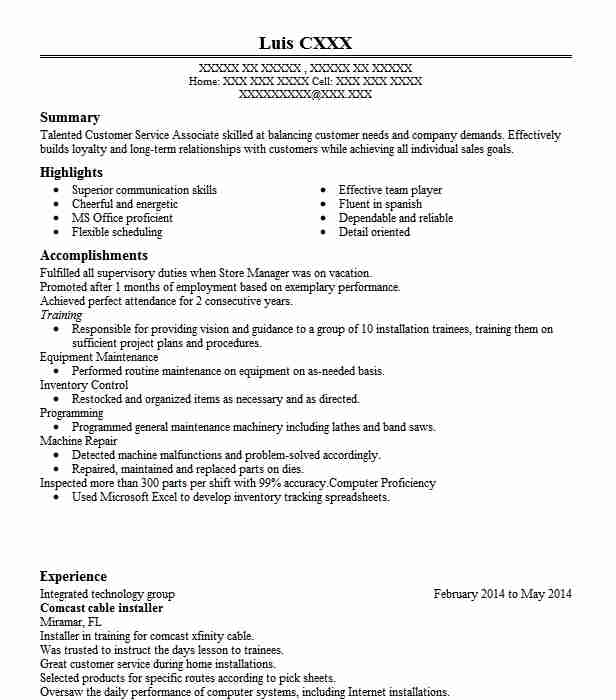 comcast cable installer resume example resumes livecareer technician for executive Resume Cable Technician Resume