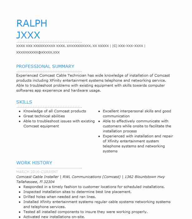comcast cable installer resume example resumes livecareer technician should you post on Resume Cable Technician Resume
