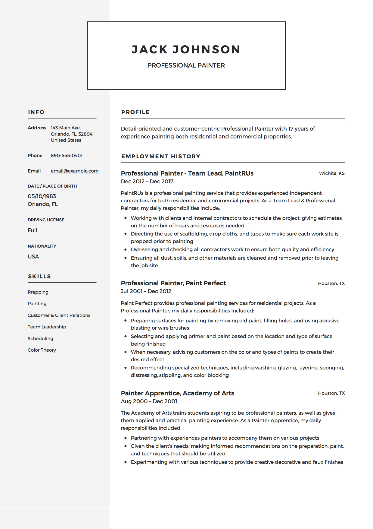 commercial painter resume guide samples pdf description for professional example best Resume Painter Description For Resume