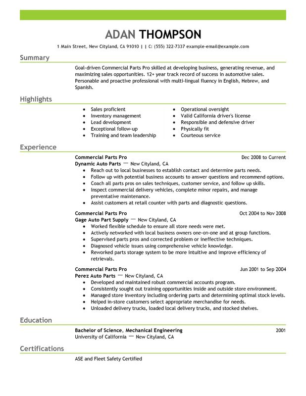 commercial parts pro resume examples free to try today myperfectresume of professional Resume Parts Of A Professional Resume