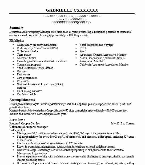 commercial property manager resume example livecareer refrigeration engineer mechanical Resume Property Manager Resume