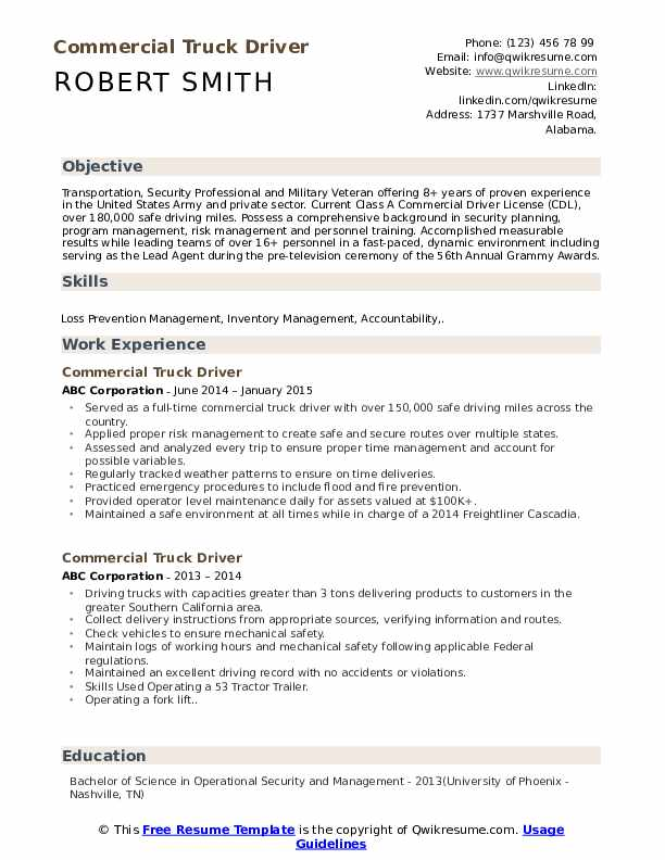 commercial truck driver resume samples qwikresume free template pdf google book mechanic Resume Free Truck Driver Resume Template