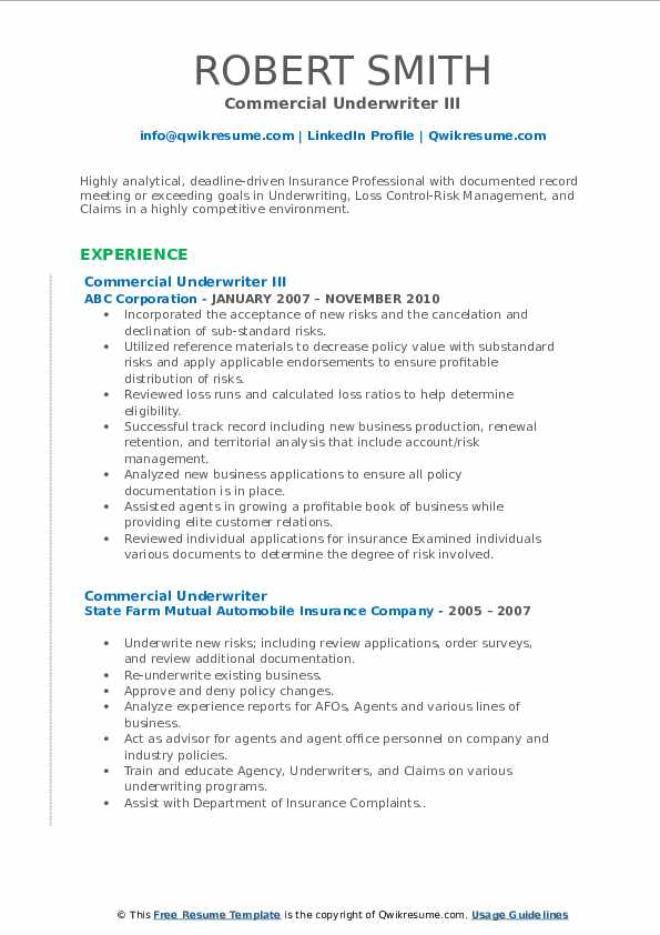 commercial underwriter resume samples qwikresume examples pdf physician template free Resume Commercial Underwriter Resume Examples
