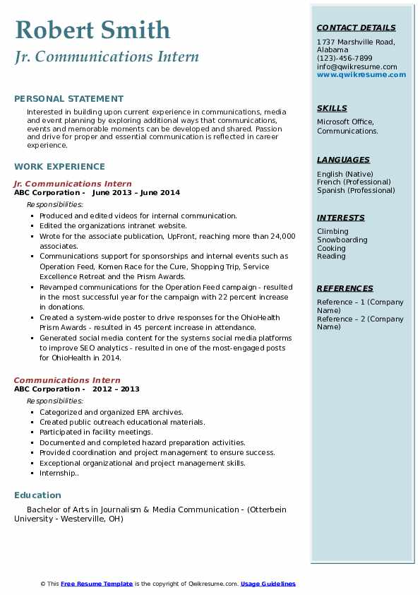 communications intern resume samples qwikresume internship pdf different examples career Resume Communications Internship Resume