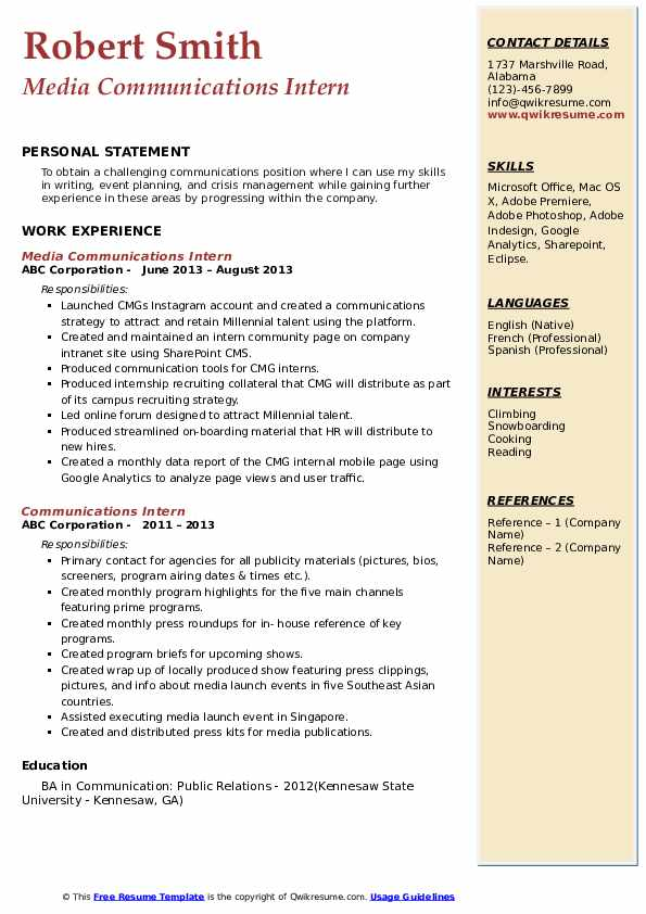 communications intern resume samples qwikresume internship pdf different examples Resume Communications Internship Resume
