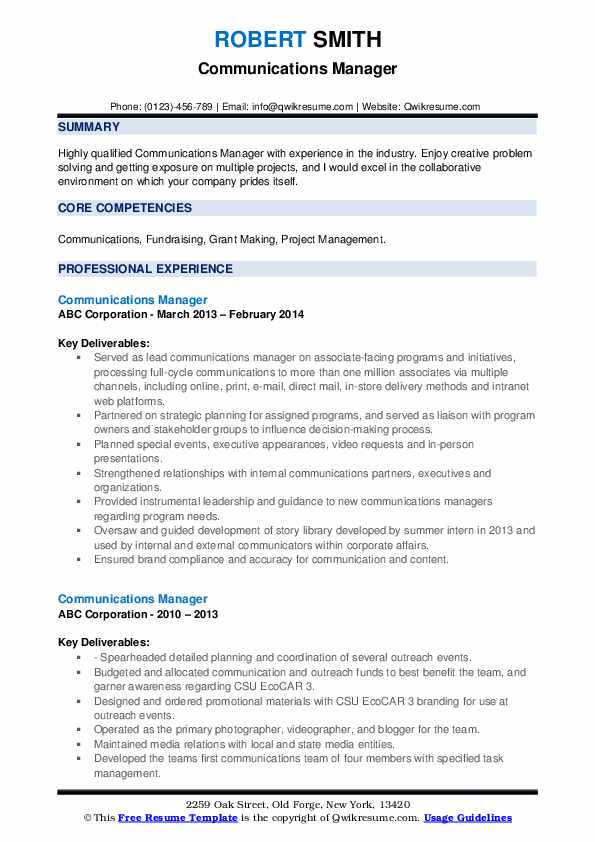 communications manager resume samples qwikresume communication experience pdf web Resume Communication Experience Resume