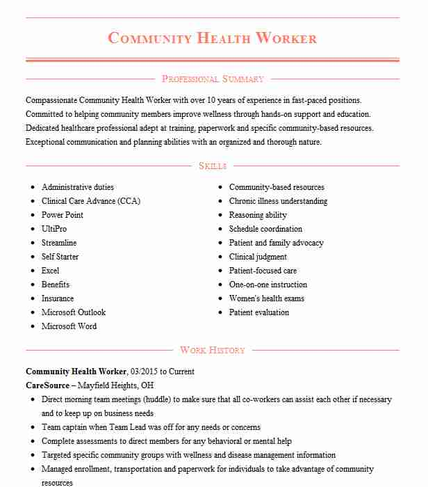 community health worker resume example resumes livecareer care best websites doctor Resume Resume Health Care Worker