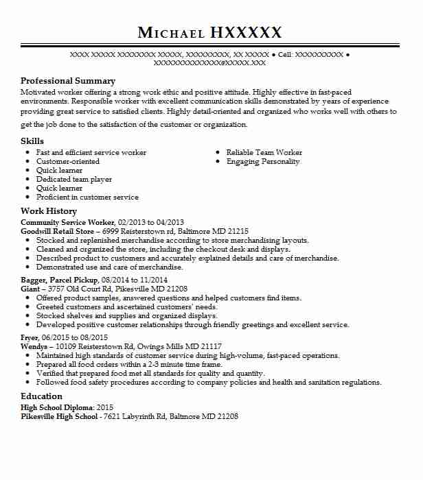 community service worker resume example resumes livecareer for graduate sample bootstrap Resume Resume For Community Service Worker