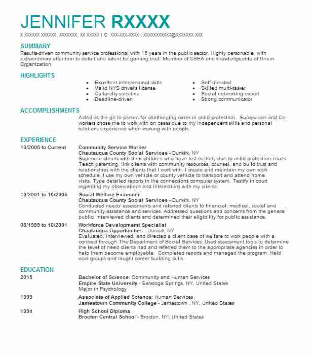 community service worker resume example resumes livecareer for stackoverflow graduate Resume Resume For Community Service Worker