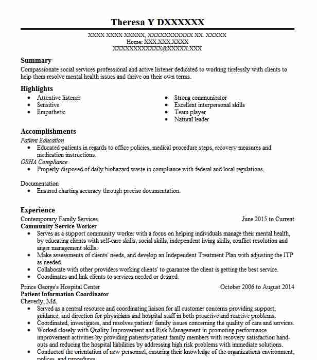 community service worker resume example resumes livecareer for templates wordpad format Resume Resume For Community Service Worker