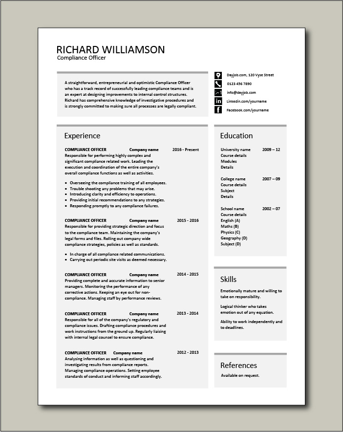 compliance officer resume objective sample example regulations job description policy bsa Resume Bsa Compliance Officer Resume