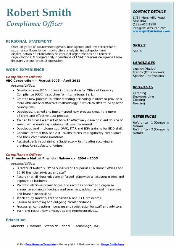 compliance officer resume samples qwikresume bsa pdf whats the best format for Resume Bsa Compliance Officer Resume