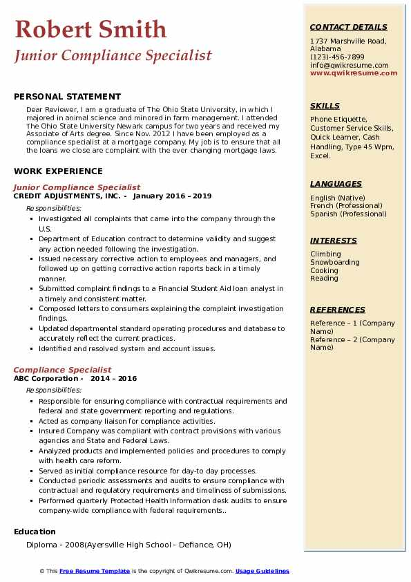 compliance specialist resume samples qwikresume objective pdf special skills for motorola Resume Compliance Specialist Resume Objective