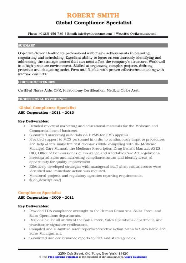 compliance specialist resume samples qwikresume objective pdf special skills for Resume Compliance Specialist Resume Objective