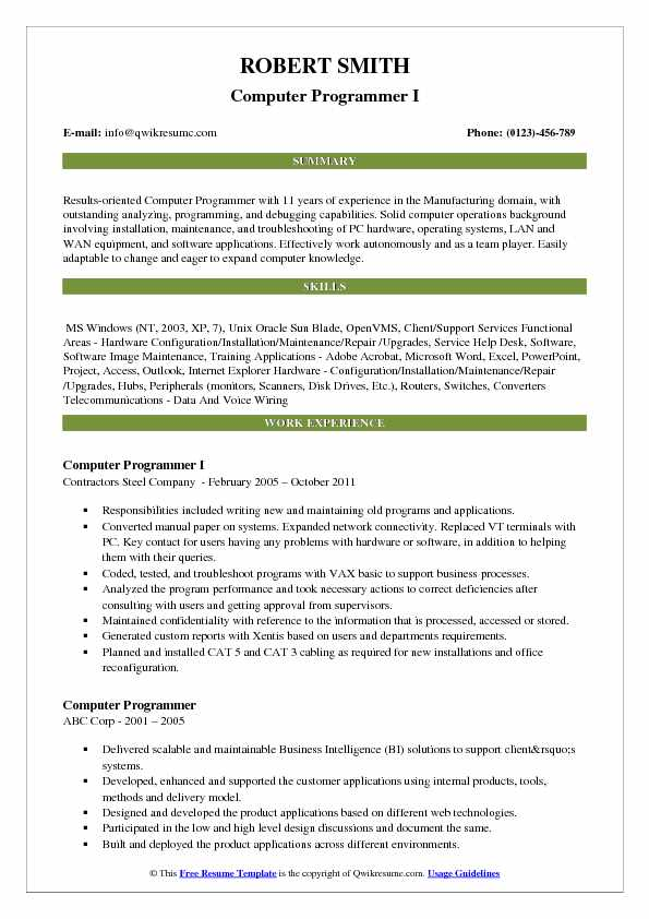 computer programmer resume samples qwikresume excel pdf great professional templates Resume Excel Programmer Resume