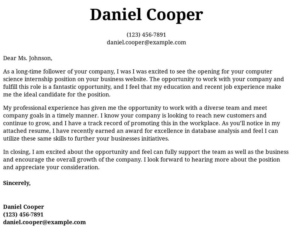 computer science internship cover letter examples samples templates resume sample intern Resume Sample Computer Science Internship Resume