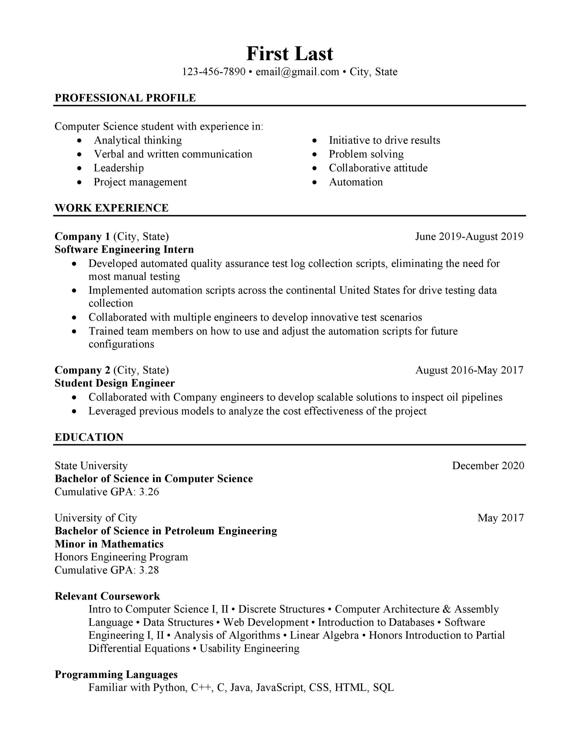 computer science student looking to improve resume resumes software engineer intern Resume Software Engineer Intern Resume Reddit