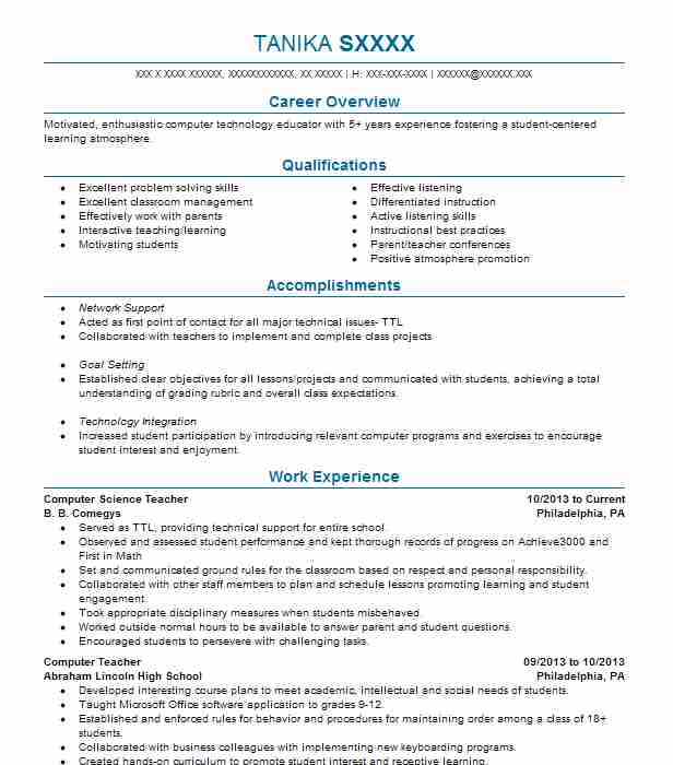 computer science teacher resume example resumes livecareer programs for create free Resume Computer Programs For Resume