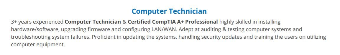 computer technician resume complete guide with examples summary for project coordinator Resume Computer Technician Resume