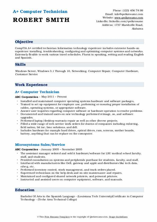 computer technician resume samples qwikresume pdf best for btech freshers academic layout Resume Computer Technician Resume