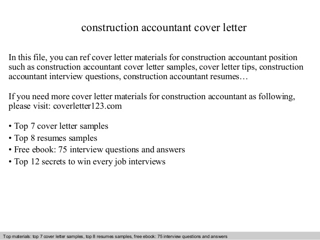 construction accountant cover letter sample for resume writing affiliate program sailing Resume Sample Cover Letter For Resume Construction