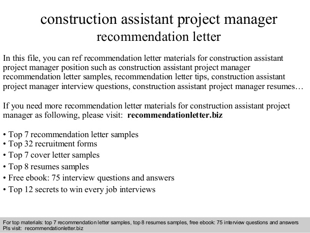 construction assistant project manager recommendation letter resume drop your here should Resume Assistant Project Manager Construction Resume