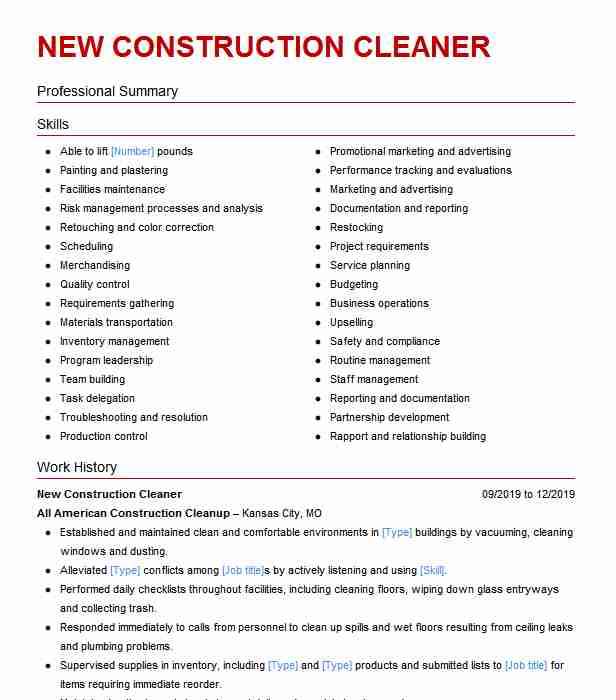 construction cleaner resume example servall cleanining services memphis critical thinking Resume Construction Cleaner Resume