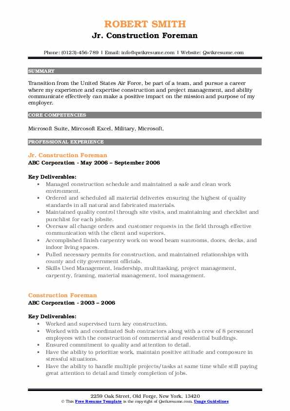 construction foreman resume samples qwikresume pdf accounting clerk search engine Resume Construction Foreman Resume