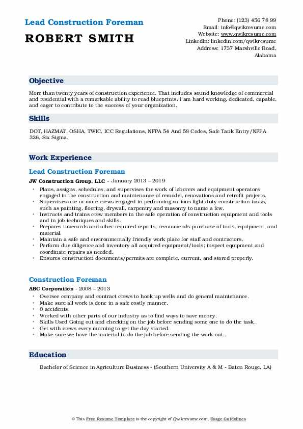 construction foreman resume samples qwikresume pdf functional sample for career change Resume Construction Foreman Resume