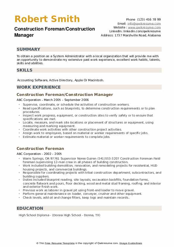 construction foreman resume samples qwikresume pdf indeed apply investigator paste format Resume Construction Foreman Resume