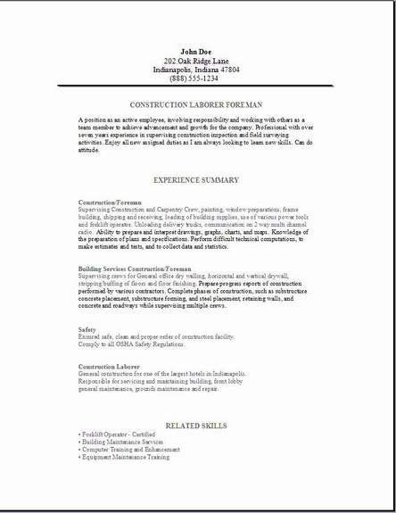 construction foreman resume3 resume1 cover letter for resume examples job hunting summary Resume Construction Foreman Resume Summary