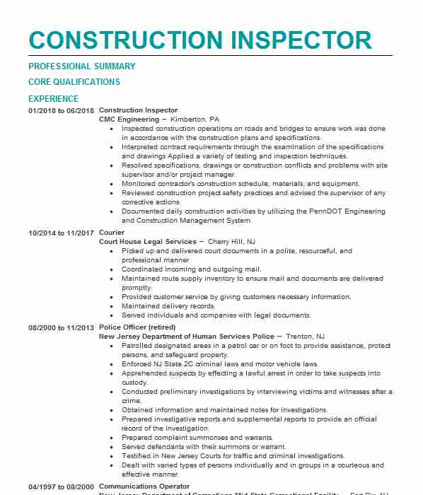construction inspector resume example resumes livecareer objective examples funny skills Resume Inspector Resume Objective Examples