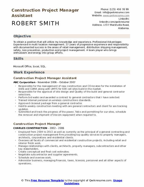 construction project manager resume samples qwikresume assistant pdf chro examples Resume Assistant Project Manager Construction Resume