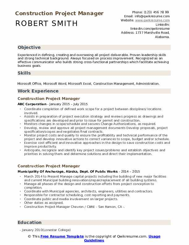 construction project manager resume samples qwikresume example of pdf sox compliance Resume Example Of Construction Project Manager Resume